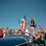 Indian baraat with vintage car