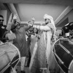 Groom dancing to dhol