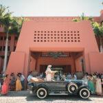 Indian groom in a vintage car in Spain
