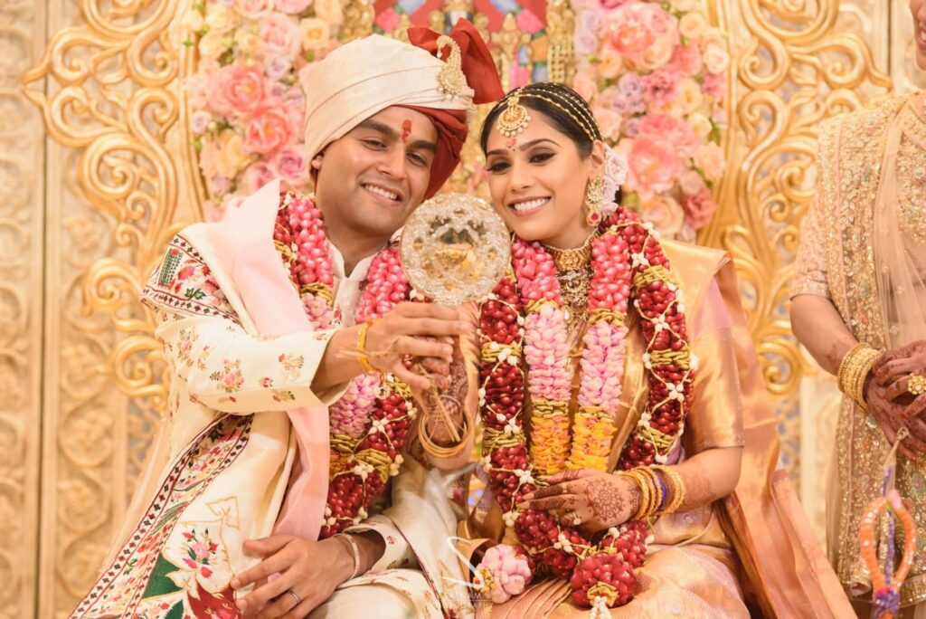 Tamil bride and Gujrati groom at their wedding ceremony at The Savoy Hotel in London