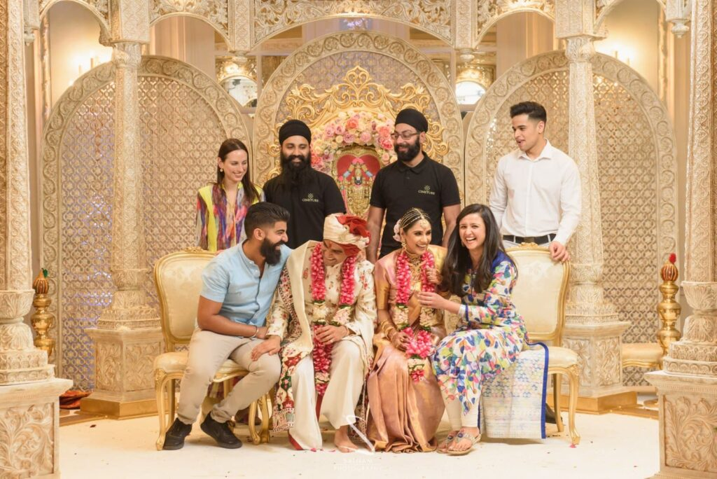 Karishma Manwani Events, Satnam Photography and Cineture team members with Indian bride and groom in London